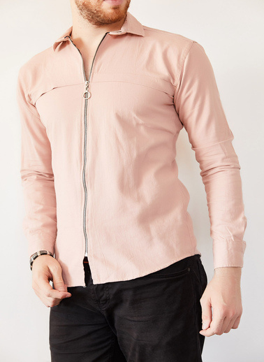 XHAN Pudra Fermuarlı Slim Fit Gömlek 0Yxe2-44038-50 Pudra